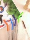 Pajitas de Metal con Punta de Silicona Colores