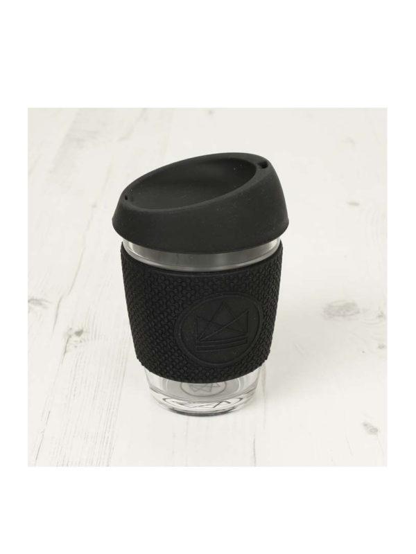 Taza reutilizable cristal para cafe Negra Neon Kactus