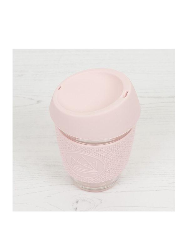 Taza reutilizable de cristal para café Rosa Neon Kactus