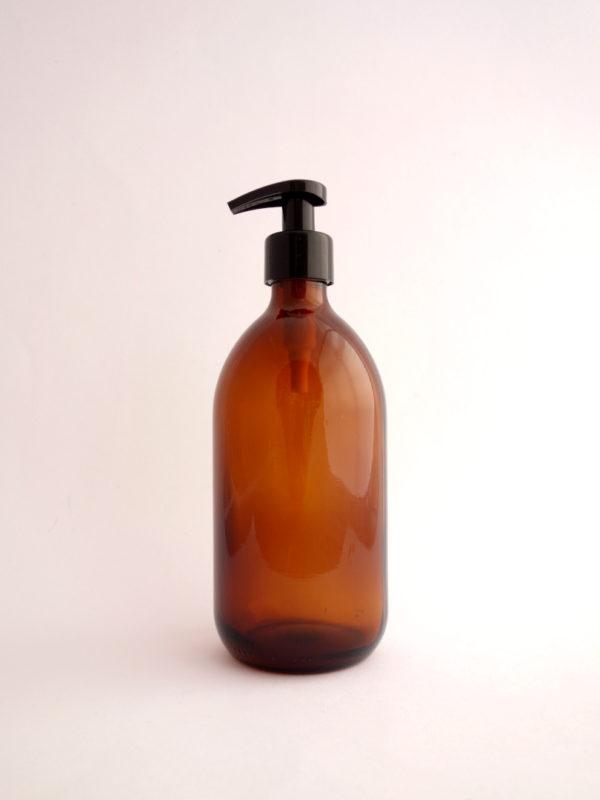 Botella vidrio ambar reutilizable con dispensador
