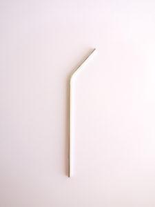 Pajita metálica curva reutilizable acero inoxidable sin plástico