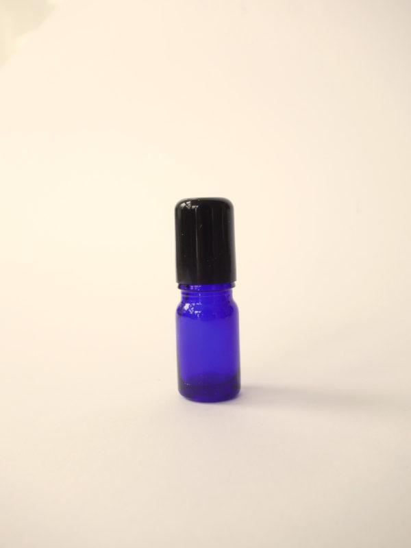 Botella de vidrio azul con roll on de vidrio
