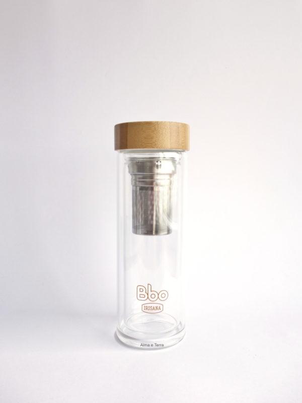 botella con infusionador vidrio borosilicato tapa bambu