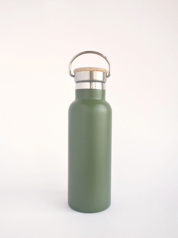 Botella termica 500ml acero inoxidable verde reutilizable sin plasticos zero waste